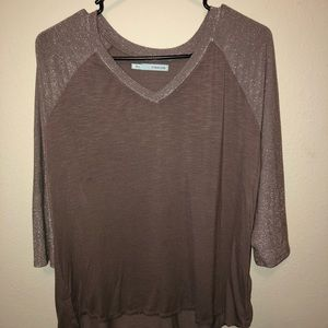 Purple baseball tee with shimmer sleeves